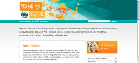 Screen shot of Valen Keefer's blog for PKD Foundation