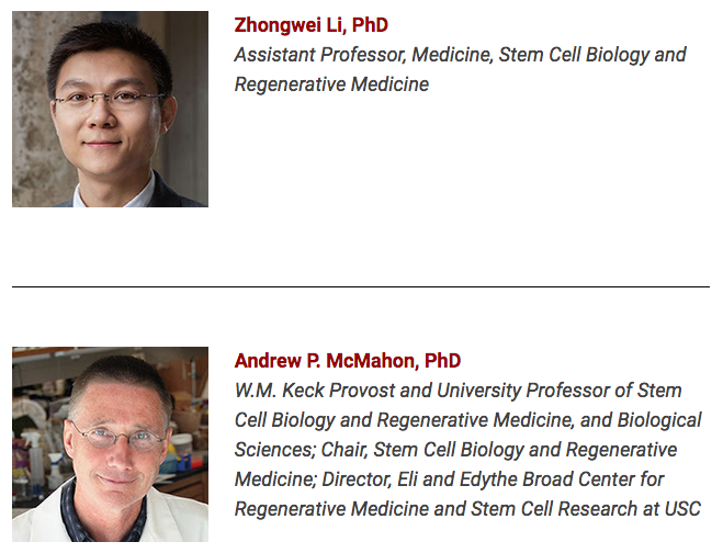 Stem cell experts Zhongwei Li, Ph.D. and Andrew McMahon, Ph.D.
